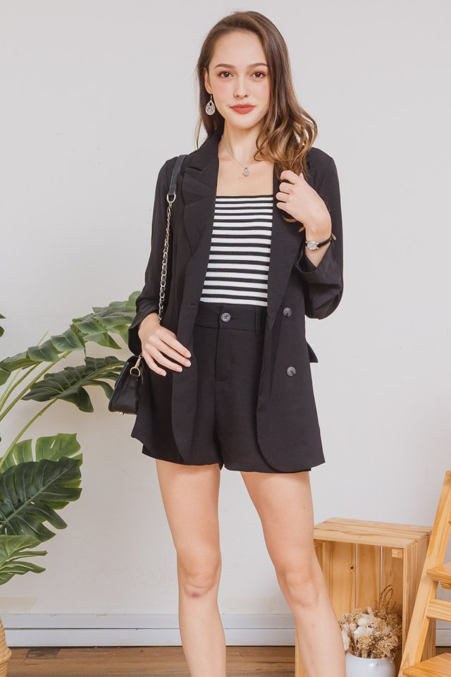 *BACK IN STOCK* Two Piece Blazer-Shorts Set in Black