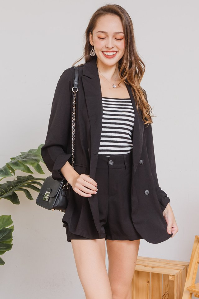 *Backorder* Two Piece Blazer-Shorts Set in Black