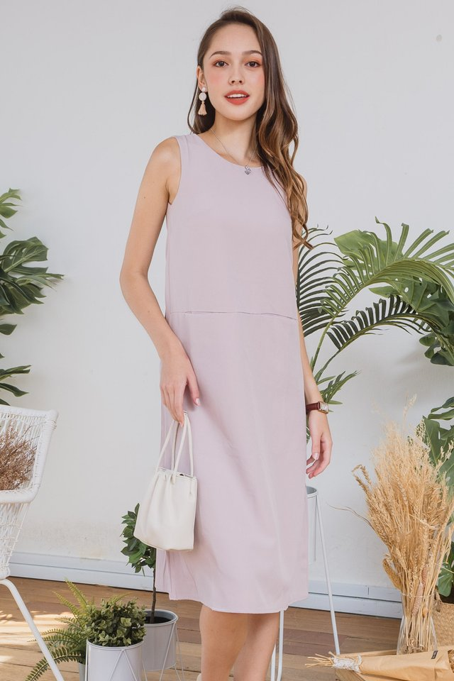 ACW Duo Pocket Midi Dress in Blush