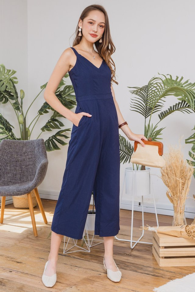 ACW V Neck Strap Jumpsuit in Navy