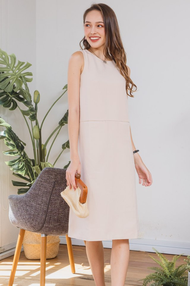 ACW Duo Pocket Midi Dress in Ivory
