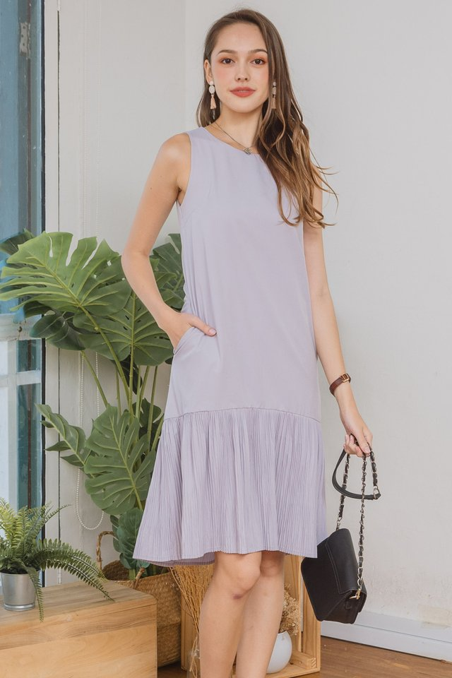 ACW Sleeveless Pleated Hem Midi Dress in Dusty Grey