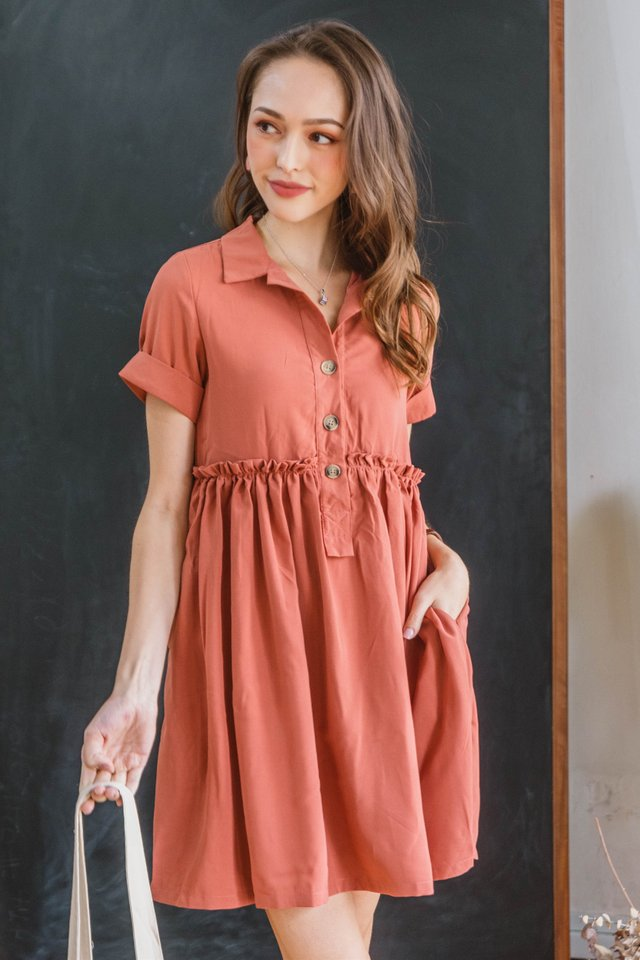ACW Ruffle Gathered Babydoll Dress in Burnt Orange