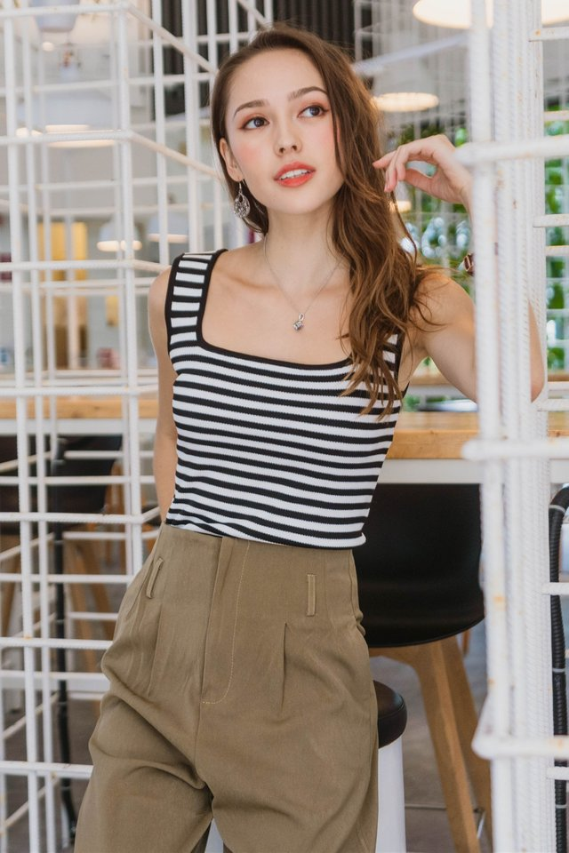 *Backorder* Basic Square Neck Knit Top in Stripes