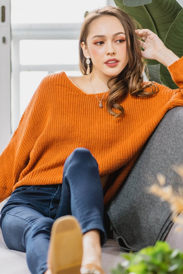 ACW Cozy Soft Knit Sweater in Burnt Orange