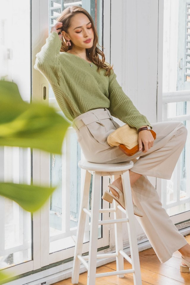 ACW Cozy Soft Knit Sweater in Moss Green