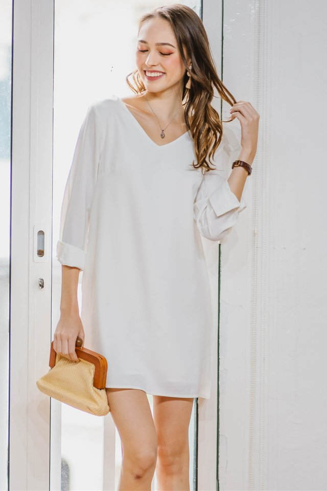 ACW Sleeve Shift Dress in White