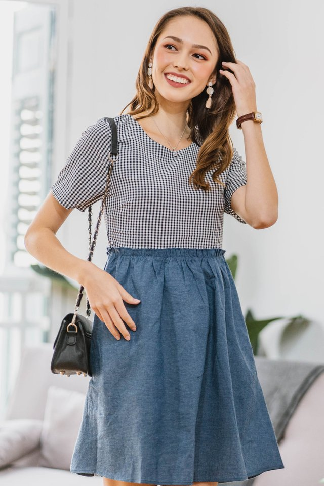 Gingham Denim Babydoll Dress in Black