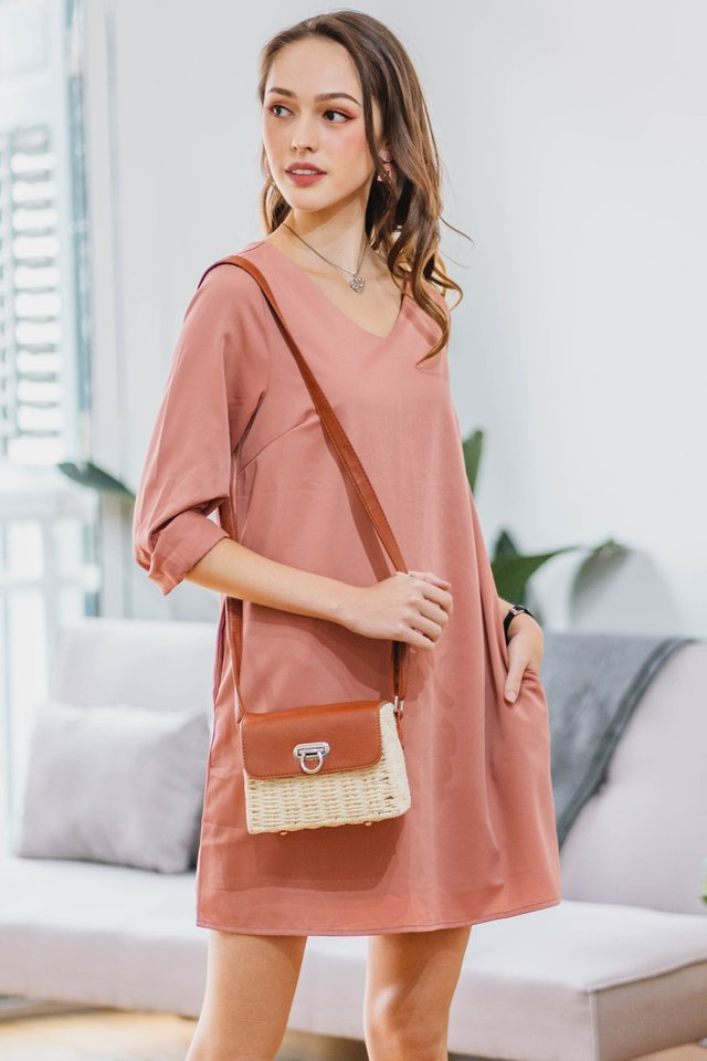 ACW Sleeve Shift Dress in Dusty Rose