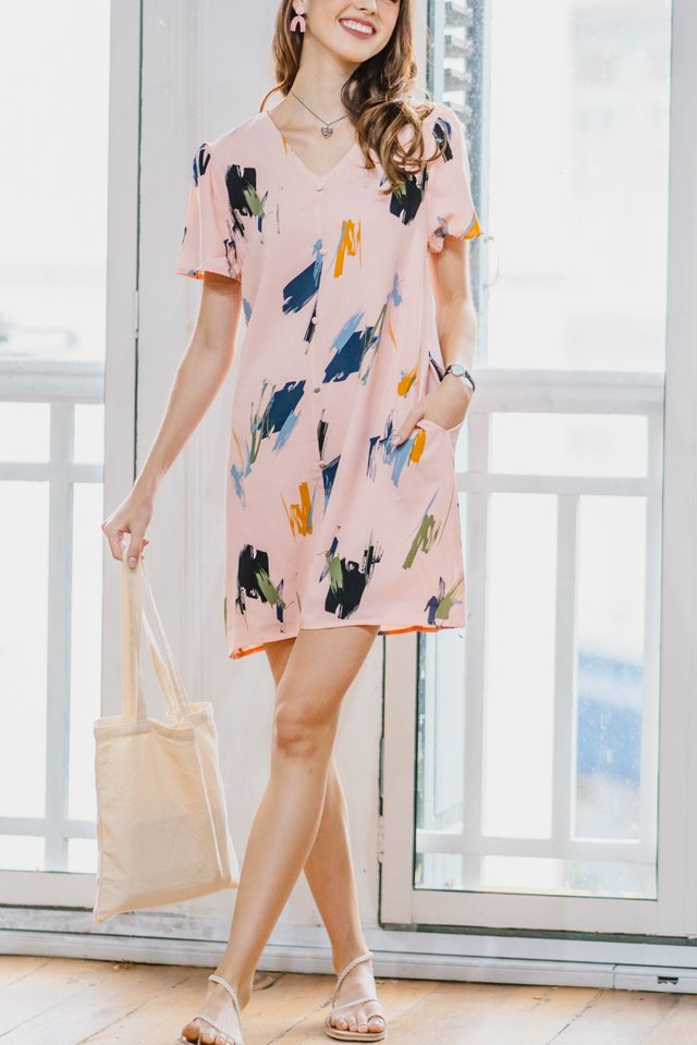 Brushstrokes Flutter Sleeve Shift Dress in Blush
