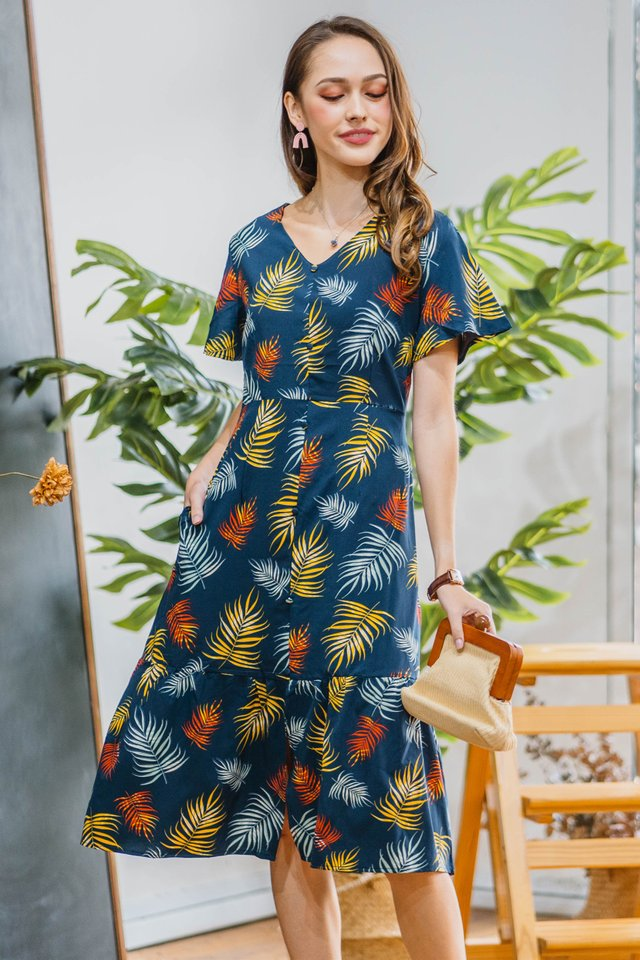 Fall Season Drop Hem Midi Dress in Navy