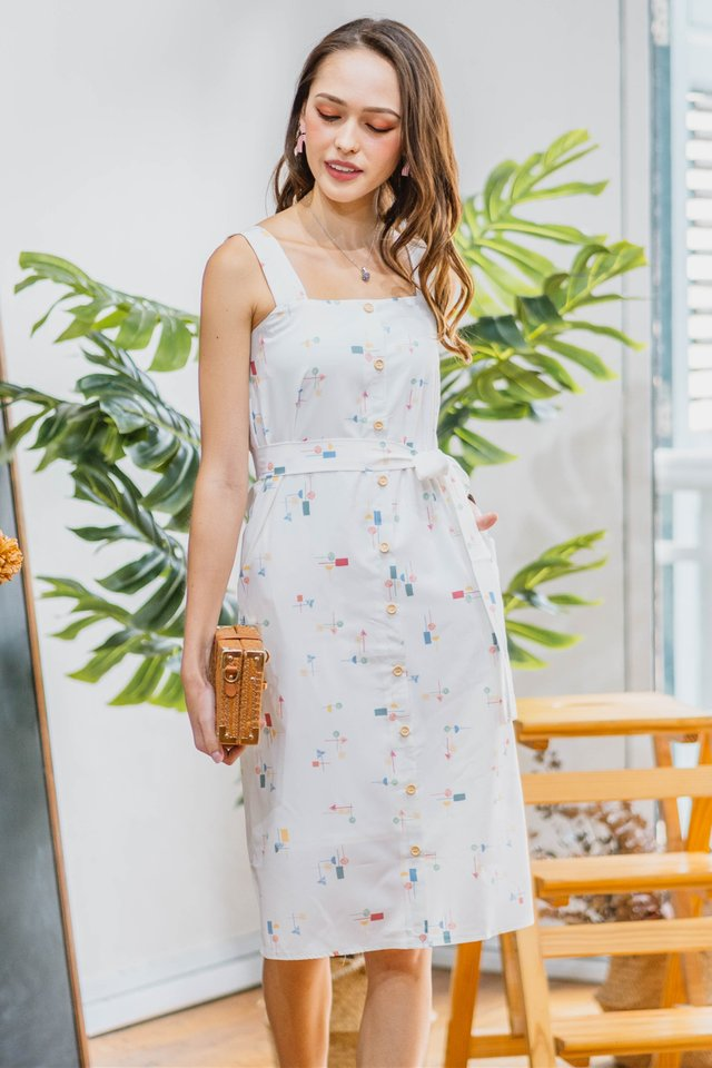 Colour Abstract Shapes Button Midi Dress in White