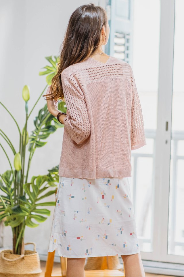 *Backorder 2* Knitted Loose Fit Cardigan in Blush