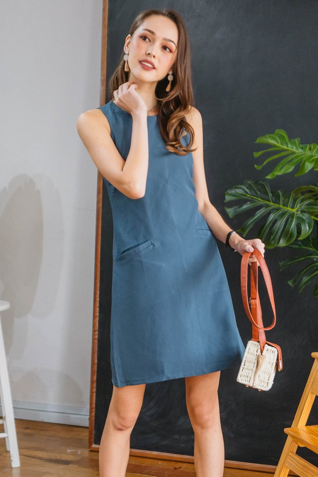 Double Pocket Pastel Shift Dress in Stone Blue