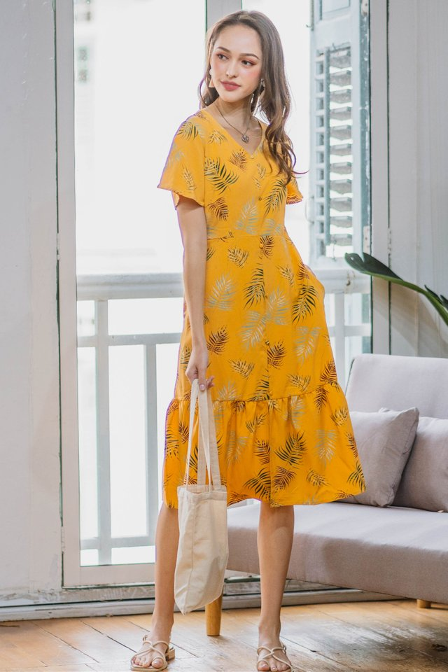 Fall Season Drop Hem Midi Dress in Daffodil