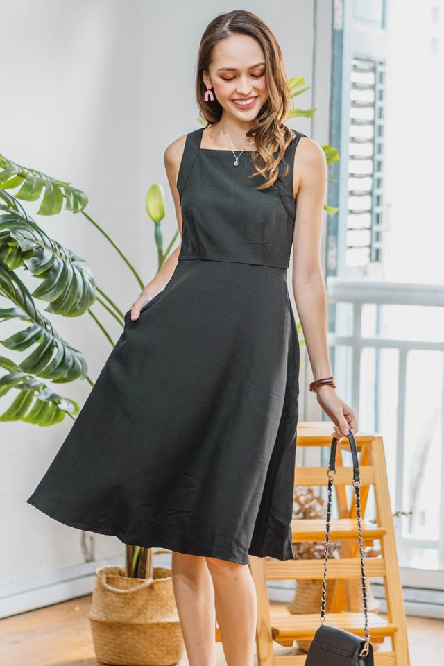 Square Neck Skater Dress in Black
