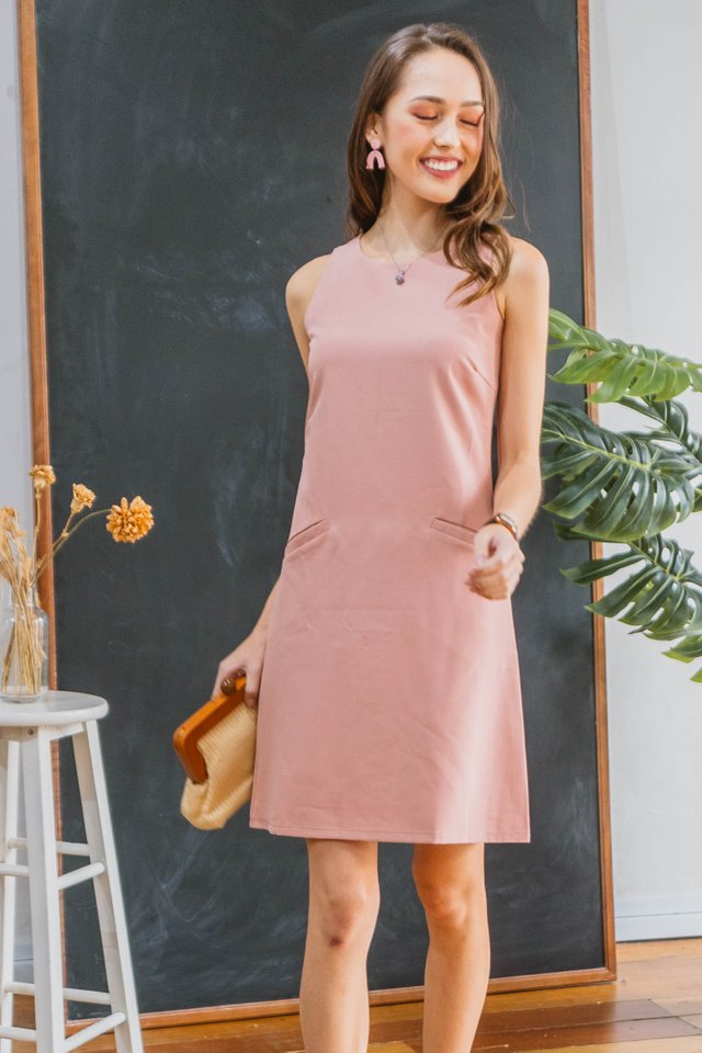 *BACK IN STOCK* Double Pocket Pastel Shift Dress in Blush