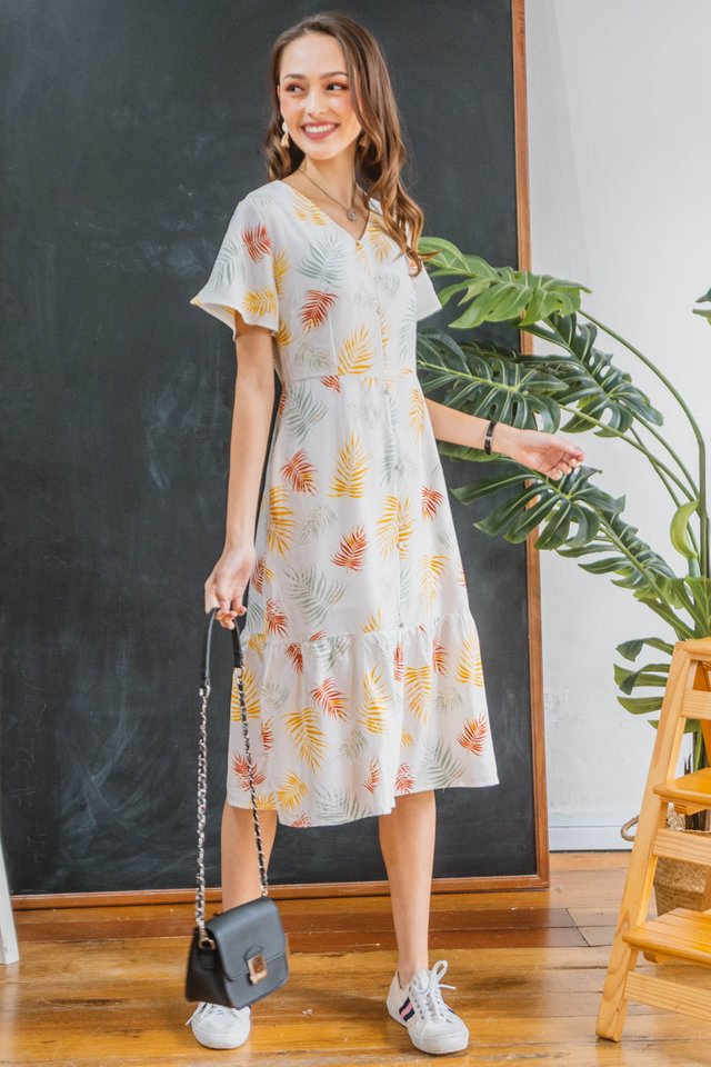 Fall Season Drop Hem Midi Dress in White