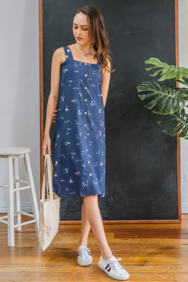 Colour Abstract Shapes Button Down Sash Midi Dress in Navy