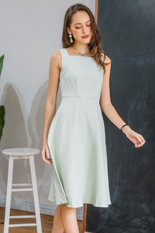 *BACK IN STOCK* Square Neck Skater Midi Dress in Seafoam