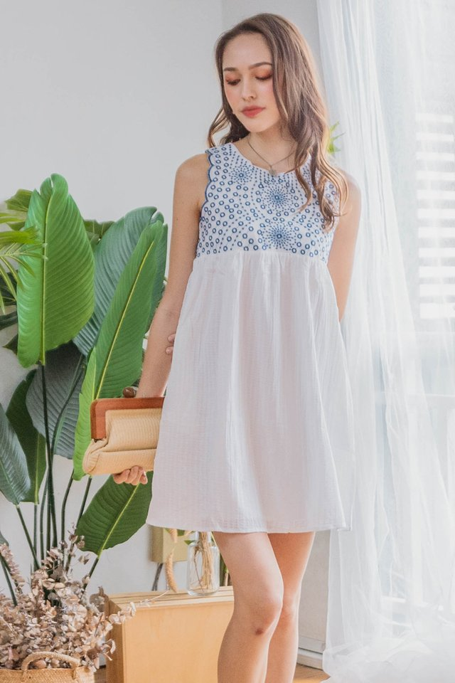 *BACK IN STOCK* ACW Blue Embroidery Crotchet Babydoll Dress