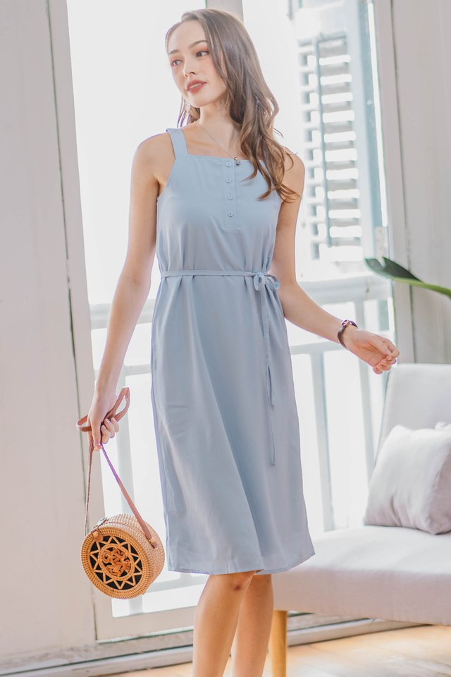 Button Down Cut In Sash Midi Dress in Powder Blue