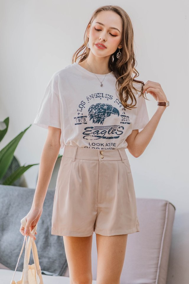 *Backorder* ACW Duo Button Pocket High Waist Shorts in Ecru