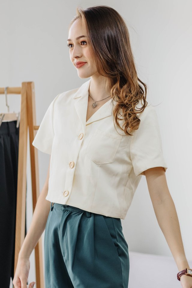 ACW Cropped Camp Collar Shirt in Ivory