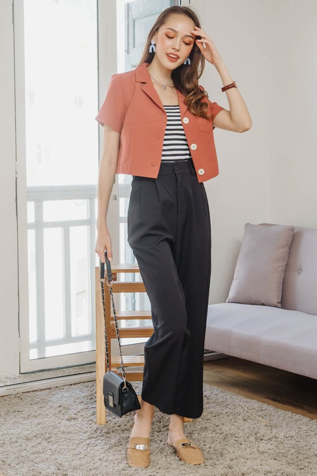 ACW Straight Cut High Waisted Trousers in Black