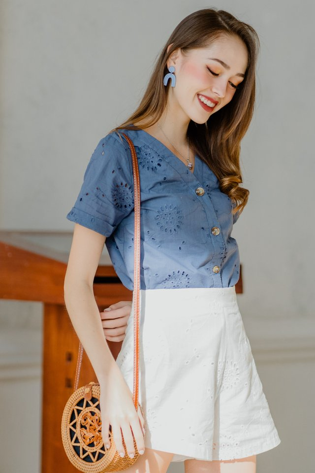 ACW Eyelet Button Down Sleeve Top in Stone Blue