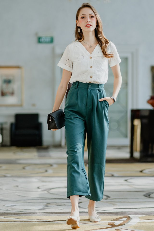 ACW Straight Cut High Waisted Trousers in Emerald