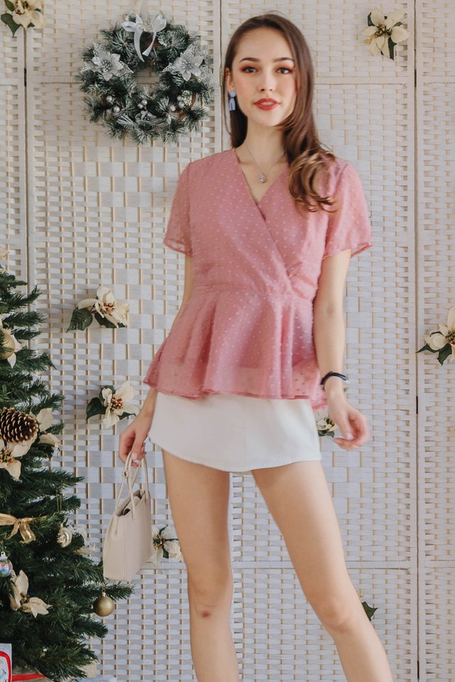ACW Swiss Dot Peplum Wrap Top in Blush