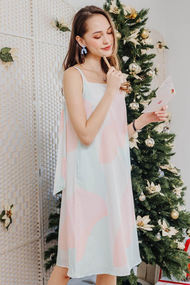 Ombre Knot Tie Midi Dress in Pastel