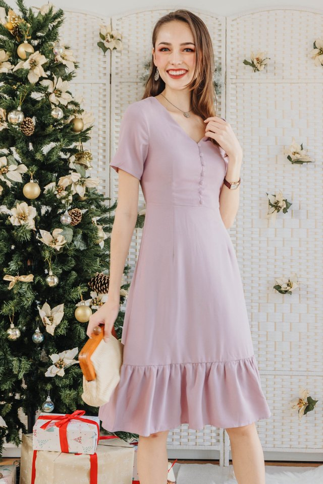 ACW Button Down Dropwaist Midi Dress in Lilac