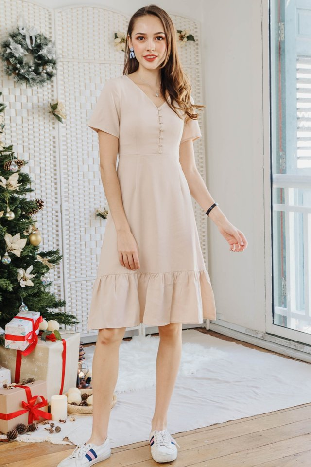 ACW Button Down Dropwaist Midi Dress in Ivory