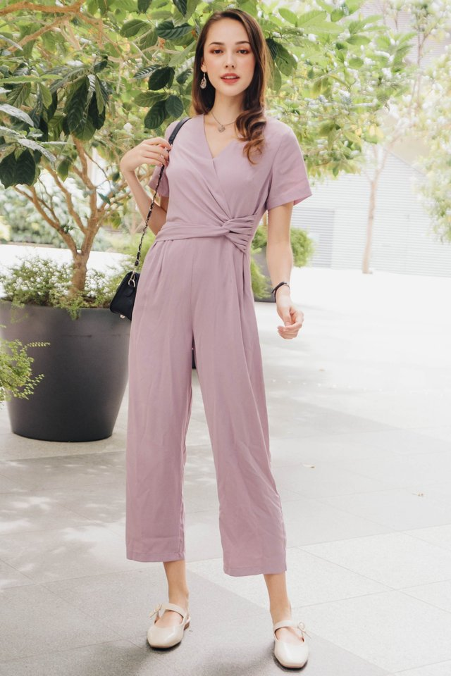 ACW  Knot Twist Sleeve Jumpsuit in Lavender