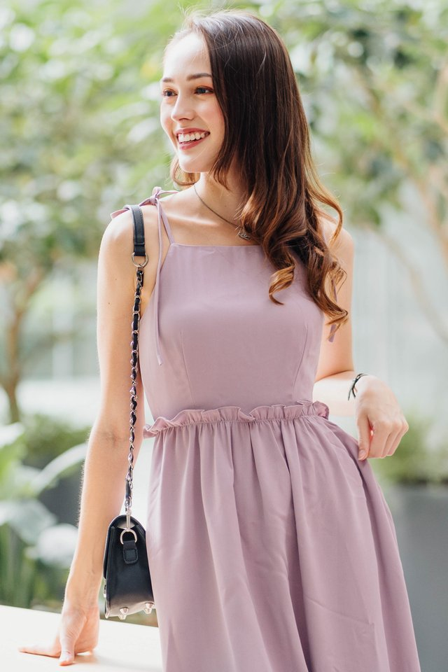 ACW Tie Strap Ruffle Waist Midi Dress in Lavender
