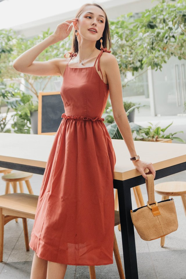 ACW Tie Strap Ruffle Waist Midi Dress in Coral