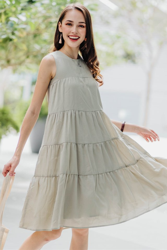 ACW Tier Layered Midi Dress in Sage Green