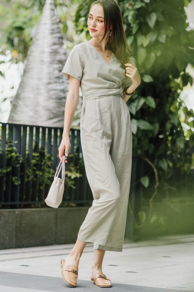 ACW  Knot Twist Sleeve Jumpsuit in Sage Green