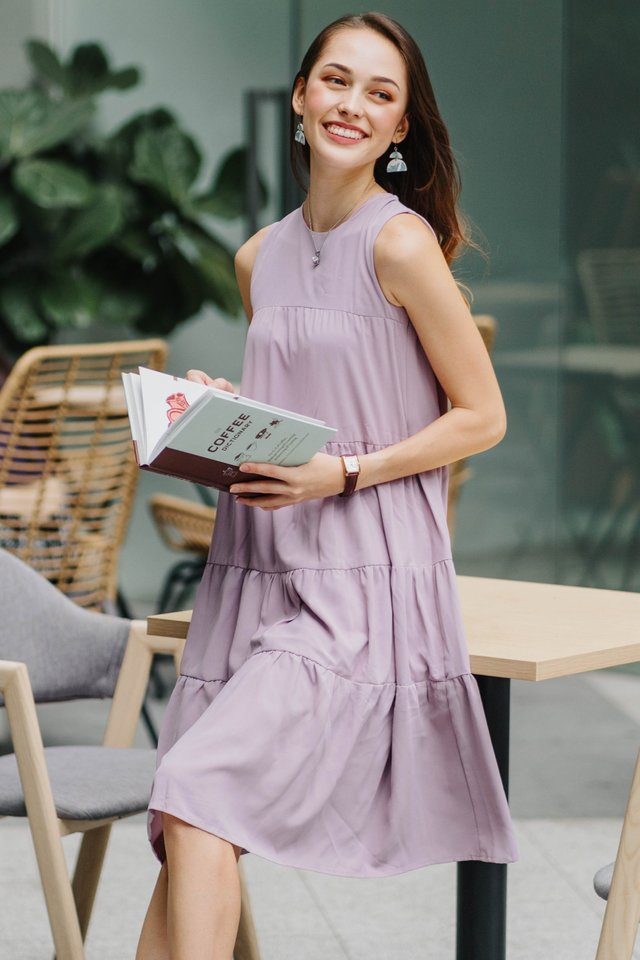 ACW Tier Layered Midi Dress in Lavender