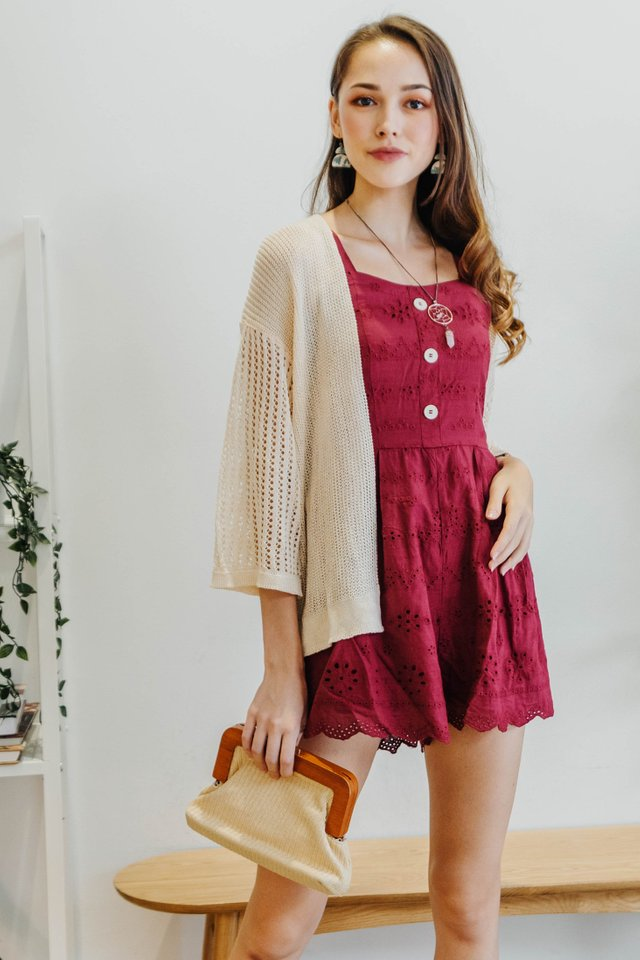 ACW Eyelet Button Panel Sash Romper in Wine
