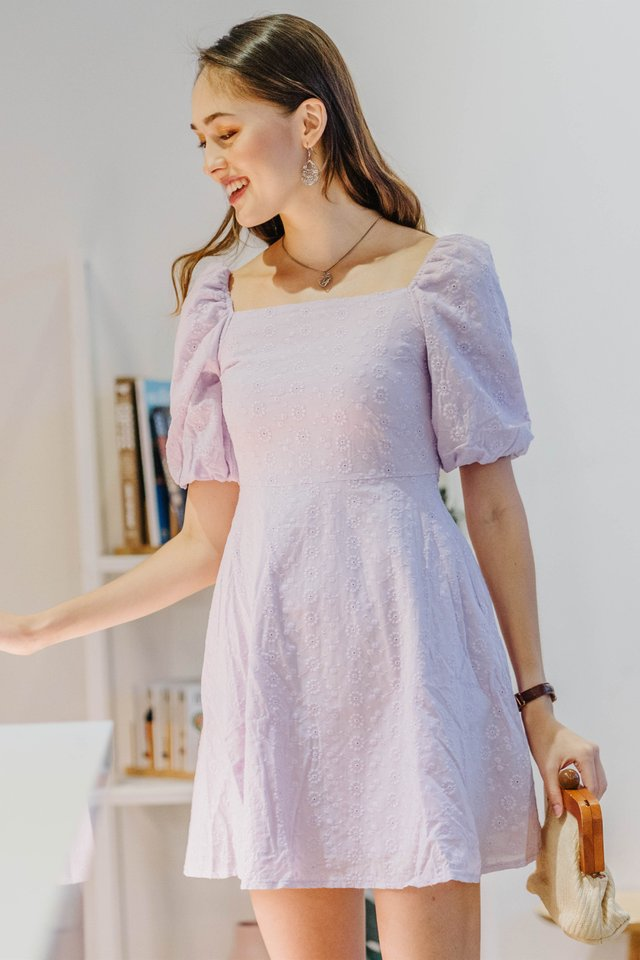 ACW Eyelet Puff Sleeve Babydoll Dress in Lavender