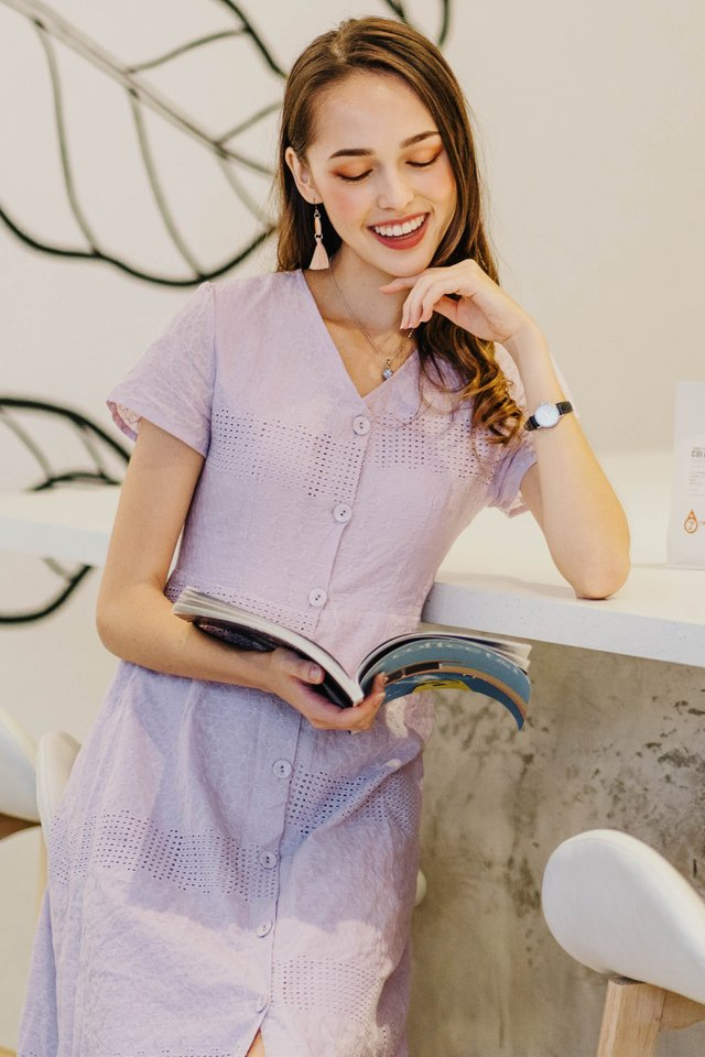 ACW Eyelet Lace Button Midi Dress in Lavender