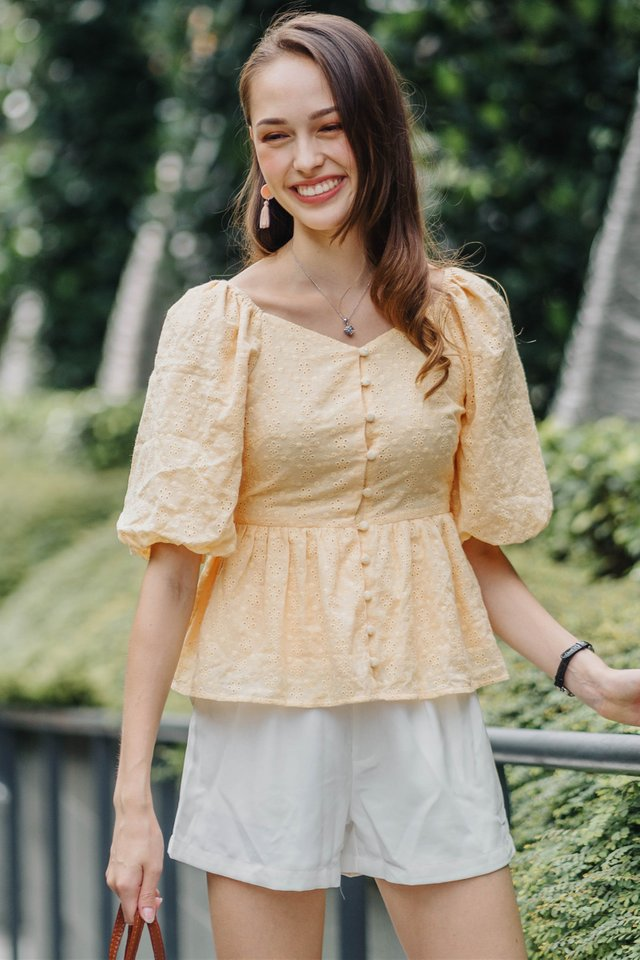 ACW Eyelet Puff Sleeve Babydoll Top in Daffodil