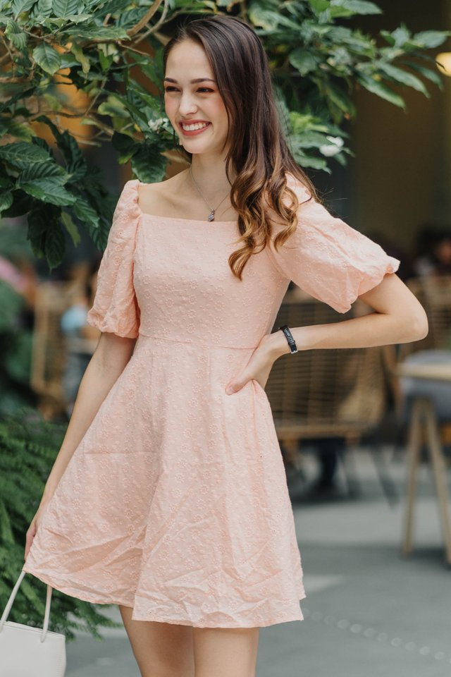 ACW Eyelet Puff Sleeve Babydoll Dress in Coral
