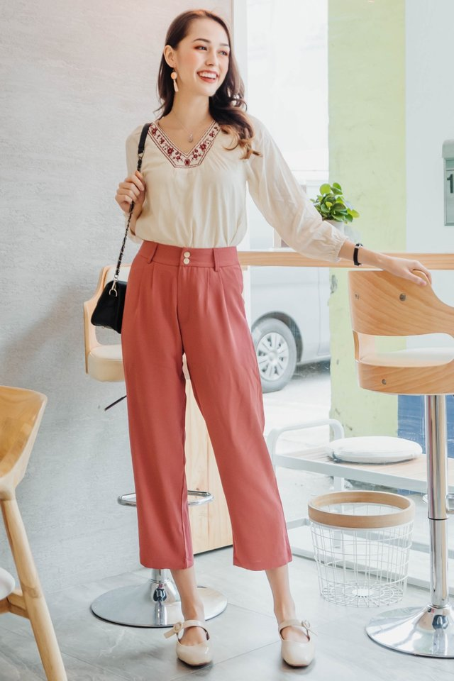 ACW Duo Button Pocket Trousers in Brick
