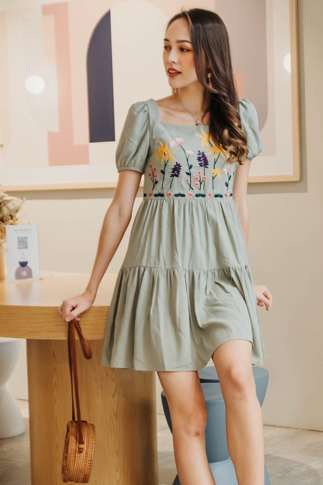 ACW Embroidery Puff Sleeve Babydoll Romper Dress in Matcha