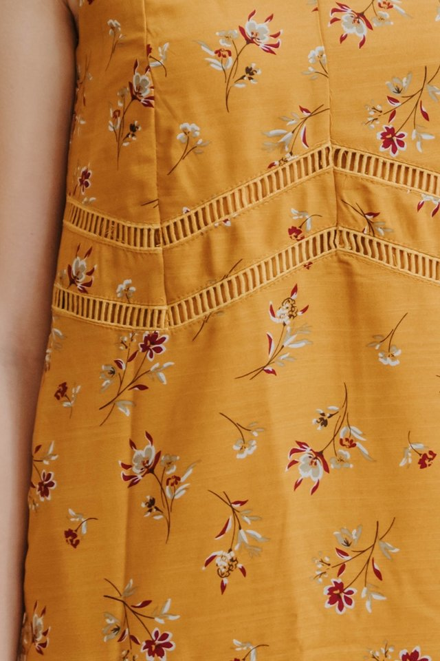 ACW Floral Lattice Trim Slip Dress in Daffodil