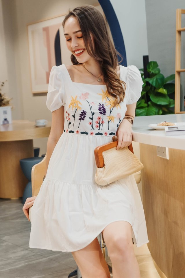 ACW Embroidery Puff Sleeve Babydoll Romper Dress in White